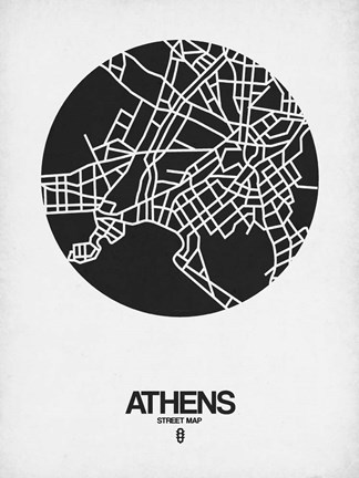Framed Athens Street Map Black on White Print