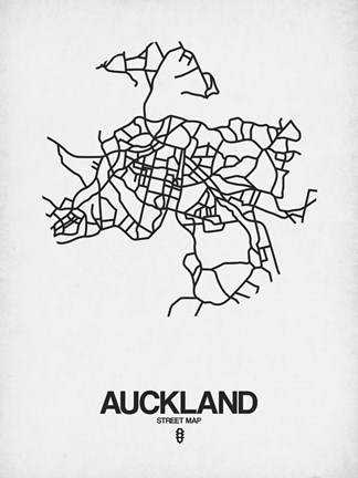 Framed Auckland Street Map White Print