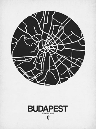 Framed Budapest Street Map Black on White Print