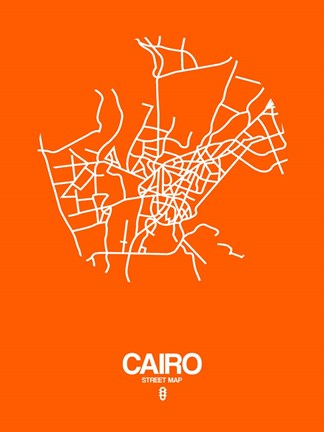 Framed Cairo Street Map Orange Print