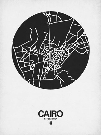 Framed Cairo Street Map Black on White Print