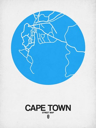 Framed Cape Town Street Map Blue Print