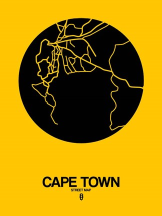 Framed Cape Town Street Map Yellow Print