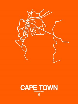 Framed Cape Town Street Map Orange Print