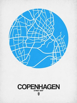 Framed Copenhagen Street Map Blue Print