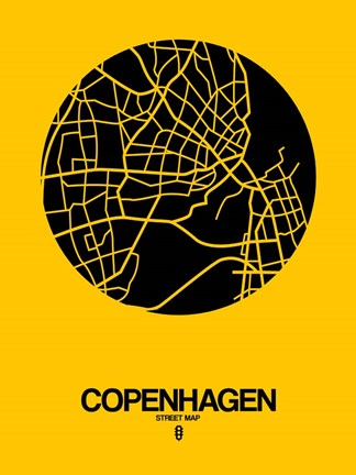 Framed Copenhagen Street Map Yellow Print