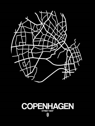 Framed Copenhagen Street Map Black Print