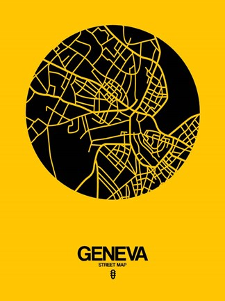 Framed Geneva Street Map Yellow Print