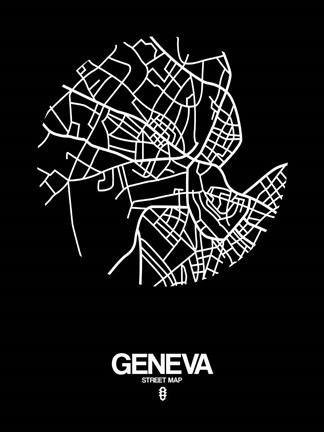 Framed Geneva Street Map Black Print
