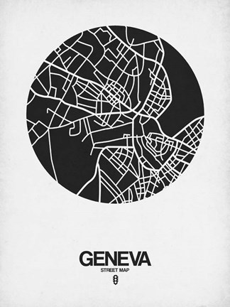 Framed Geneva Street Map Black on White Print