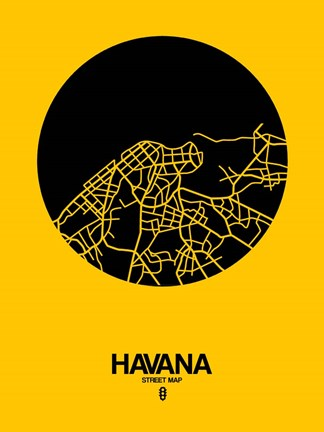 Framed Havana Street Map Yellow Print