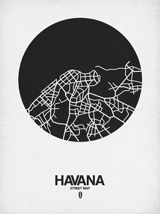 Framed Havana Street Map Black on White Print