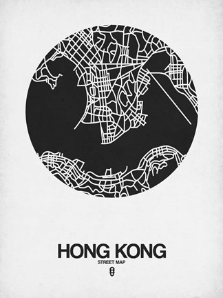 Framed Hong Kong Street Map Black on White Print