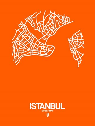 Framed Istanbul Street Map Orange Print