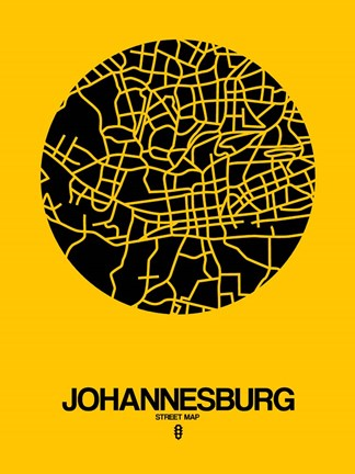 Framed Johannesburg Street Map Yellow Print