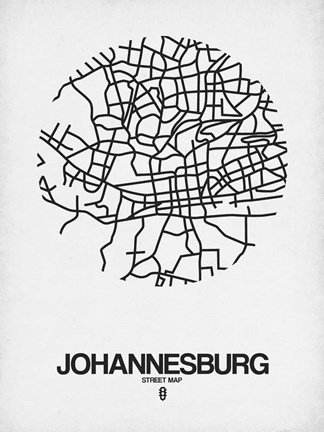 Framed Johannesburg Street Map White Print