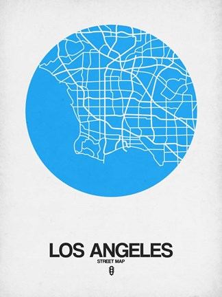 Framed Los Angeles Street Map Blue Print