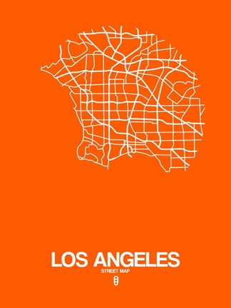 Framed Los Angeles Street Map Orange Print