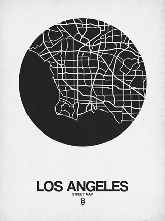 Framed Los Angeles Street Map Black on White Print