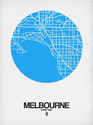 Framed Melbourne Street Map Blue Print