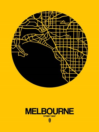 Framed Melbourne Street Map Yellow Print