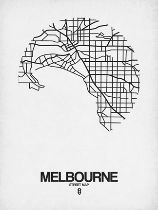 Framed Melbourne Street Map White Print
