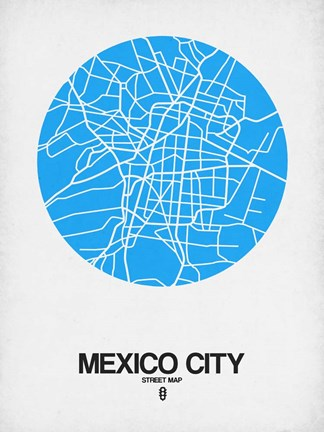 Framed Mexico City Street Map Blue Print