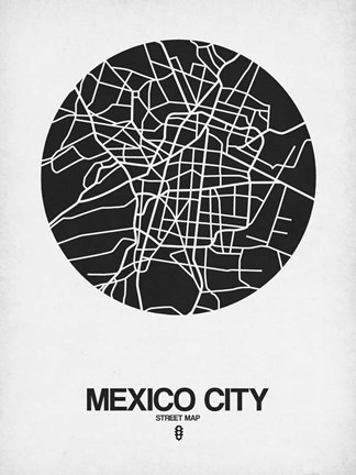 Framed Mexico City Street Map Black on White Print