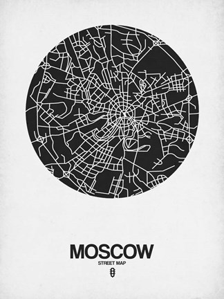 Framed Moscow Street Map Black on White Print