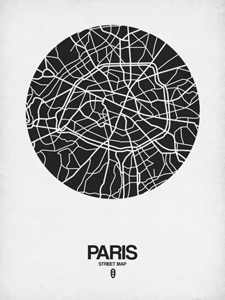 Framed Paris Street Map Black on White Print