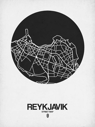 Framed Reykjavik Street Map Black on White Print