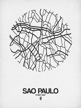 Framed Sao Paulo Street Map White Print