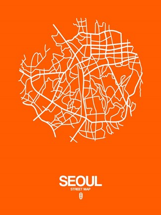 Framed Seoul Street Map Orange Print