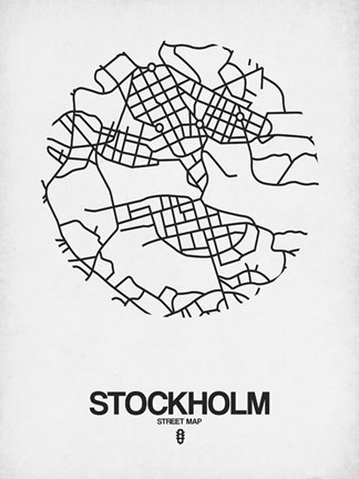 Framed Stockholm Street Map White Print
