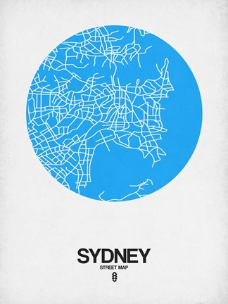Framed Sydney Street Map Blue Print