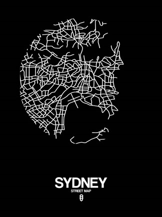 Framed Sydney Street Map Black Print