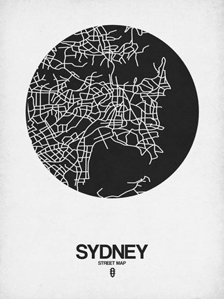Framed Sydney Street Map Black on White Print