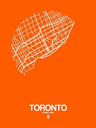Framed Toronto Street Map Orange Print
