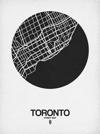 Framed Toronto Street Map Black on White Print