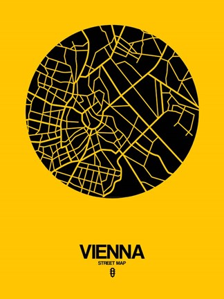 Framed Vienna Street Map Yellow Print