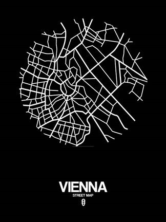 Framed Vienna Street Map Black Print