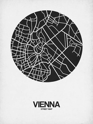 Framed Vienna Street Map Black on White Print