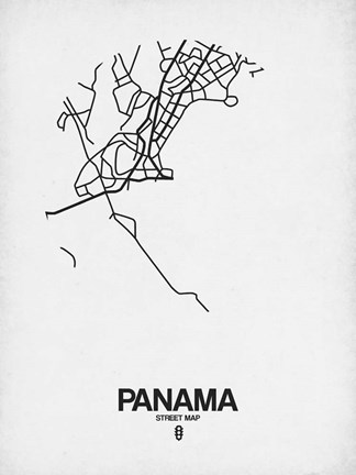 Framed Panama Street Map White Print