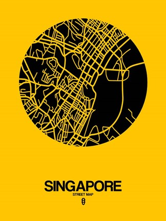 Framed Singapore Street Map Yellow Print