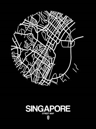 Framed Singapore Street Map Black Print