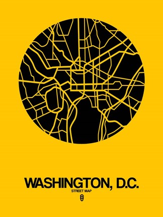 Framed Washington DC  Street Map Yellow Print
