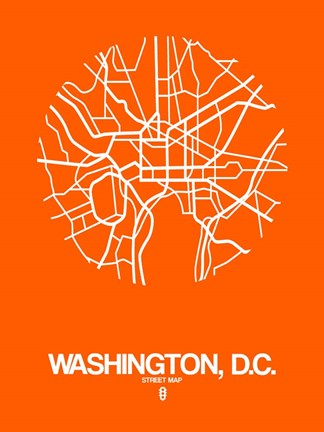 Framed Washington DC  Street Map Orange Print