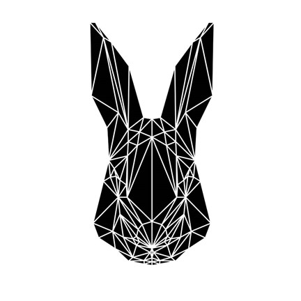 Framed Black Rabbit Print
