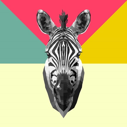 Framed Party Zebra Head Print