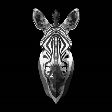 Framed Black Zebra Head Print